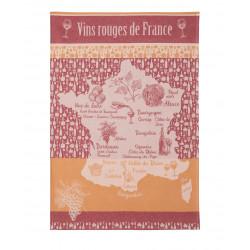 Torchon jacquard VINS ROUGES DE FRANCE